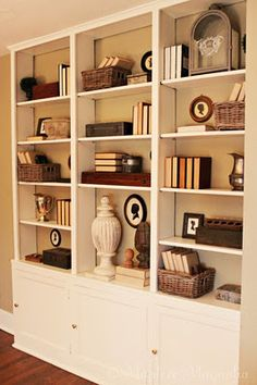 Like The Style Of This Bookshelf Smallish Baskets Shadow Box W Interesting Tidbit Inside Old Clock From Gigi