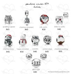 Pandora Winter 2014 - Holiday charms.  Love them all, favorites are Jolly Santa & Happy Snowman