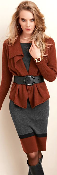 copper brown (otherwise too matchy-matchy for my taste) Sweater - belt
