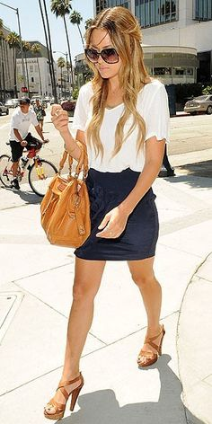 A great way to dress up a casual white tee. (Lauren Conrad)