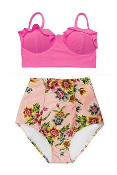 Rosa Midkini Top e Flora fiore floreale Pantalone di venderstore