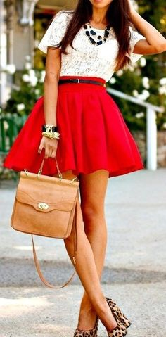 Lace shirt with a red skirt #Fashion #Lace #Skirt