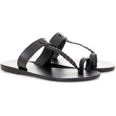 Ancient Greek Sandals Melpomeni Leather Sandals (1,955 MXN) ❤ liked on Polyvore featuring shoes, sandals, black, flat shoes, leather shoes, black leather shoes, ancient greek sandals, leather footwear and kohl shoes