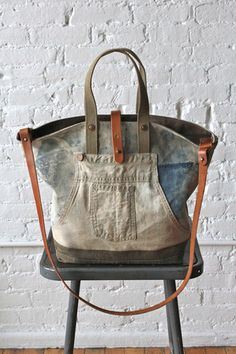 1930's era Denim Work Apron and Military Canvas Carryall - FORESTBOUND  http://www.forestbound.com/collections/all/products/1930-s-era-denim-work-apron-and-military-canvas-carryall