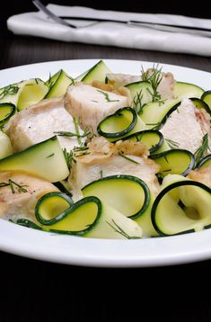 Ribbons of zucchini with slices of chicken in milk sauce Zucchini, Salads, Appetizers, Milk, Dishes, Chicken, Vegetables, Ribbons, Food