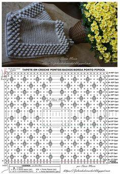 2 corr + 25 pp + 3 pb) + 1 pp + 1 Crochet Diy, Crochet Round, Crochet Home, Crochet Diagram, Crochet Chart, Crochet Motif, Crochet Cushions, Baby Blanket Crochet, Crochet Wallet