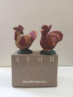 "Avon Turkey Twosome Salt and Pepper Shakers Thanksgiving 1.5"" Decor Kitchen Box  #Avon"