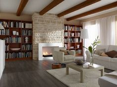 Contemporary Living Room With Klimex Ardennes Stone Veneer