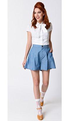 Collectif Retro Style High Waist Jane Denim Shorts
