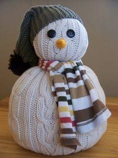 How to Make a Snowman Out of Things Other Than Snow - thegoodstuff - DIY Sweater Snowman - Sock Snowman, Make A Snowman, Snowman Crafts, Christmas Snowman, Christmas Projects, Crafts To Make, Holiday Crafts, Christmas Crafts, Christmas Trees
