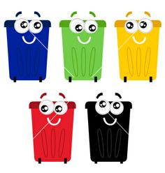 Funny colorful recycle bin mascots vector 1303951 - by lordalea on VectorStock®