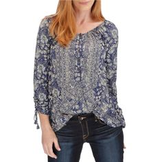 Peasant Blouse Womens Navy Small