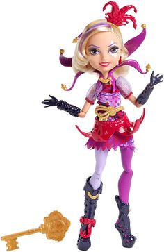"""Join the fun at Ever After High with this Courtly Jester doll! In the Netflix Original Series, """"Way Too Wonderland,"""" Raven Queen, daughter of the Evil Queen, magically transports herself and her friends to Wonderland. Ever After High, Triste Disney, Basic Fashion, High Fashion, Mattel Shop, Birthday Presents For Girls, Ever After Dolls, Joker Card, Little Poni"""
