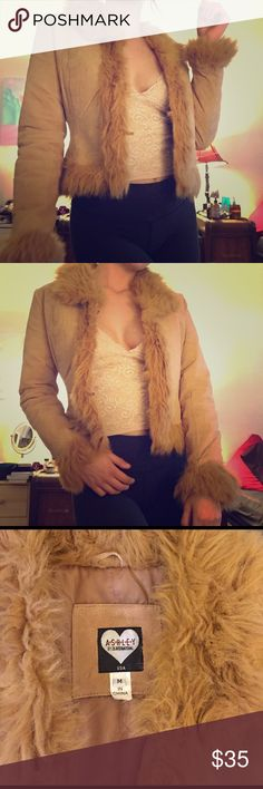 """70s Meets 90s Vintage Faux Fur Leather Jacket Adorable faux fur jacket! Super stylish. It has a 70s hippie vibe, or can be a total 90s bomber. Not sure exactly how old, but at least 90s era. Brand is called """"Ashley"""". There are metal clasps in the front so you can close it. This is a super playful and sexy jacket which goes with almost any outfit! Says medium but can fit a small. Jackets & Coats"""