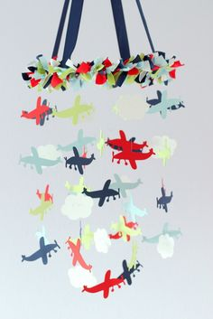 Airplane Nursery Mobile in Blue Green Red & by LoveBugLullabies