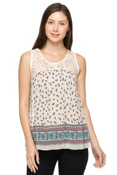 Paisley printed lace contrast top.