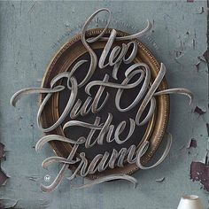 Step Out of the Frame by Maztrone via @fromupnorth #typography #abstract #frame #design #abstractart #cursive #letters #3d #wallart