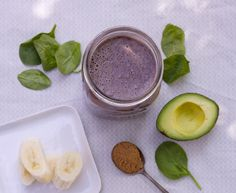 1 cup blueberries 1 heaping handful spinach ¼ avocado 1 TB. almond butter 2 cups coconut water