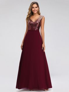 Evening Dress Charming A Line V Neck Floor Length Sleeveless Zipper Chiffon Social Party Dresses Cocktail Bridesmaid Dresses, Prom Party Dresses, Homecoming Dresses, Formal Dresses, Dress Prom, Affordable Prom Dresses, Prom Dresses Online, Sequin Evening Gowns, Robes D'occasion