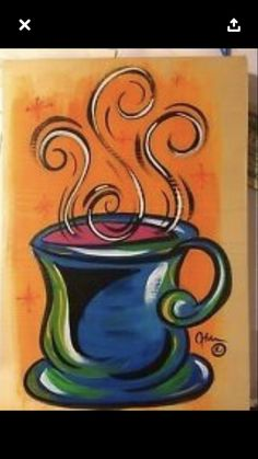 easy acrylic painting ideas for beginners on canvas Coffee Painting Canvas, Cross Canvas Paintings, Acrylic Painting Canvas, Canvas Art, Acrylic Art, Diy Art Projects Canvas, Canvas Painting Tutorials, Diy Painting, Paint And Drink