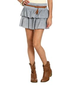 Tiered Belted Chambray Skirt - Bottoms wetseal $17.99