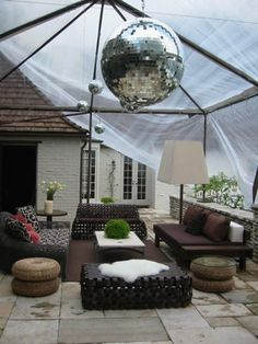 outdoor party decor for a rainy day
