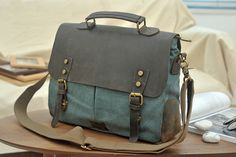 bluegreen messenger bag  canvas bag  student bag  door Leizistudio, $59.90