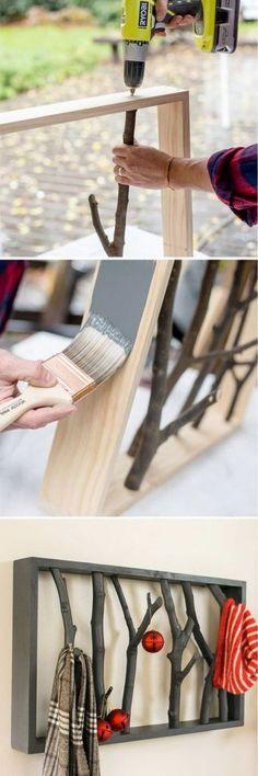 26 DIY Branch Shelf #woodworkingplans