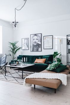 Green Living Room Ideas Decor Black Sofa Toom Brown