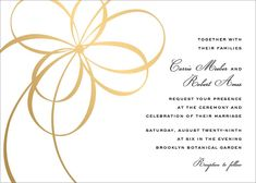 Elegant ornamentation details are the perfect way to glamorize your big day. Start your wedding theme planning with these elegant gold foil wedding invitations. With a font that adds character and a feminine flair, these invitations are perfect for a rang Wedding Invitation Paper, Wedding Invitations Online, Classic Wedding Invitations, Gold Invitations, Bridal Shower Invitations, Custom Invitations, Invitation Design, Invites, Paperless Post