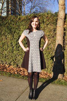 Sewaholic davie dress - shorter length good with a firmer knit like interlock or ponte to keep the A line shape and wear with tights