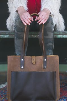 Leather Pocket Tote by Love 41.