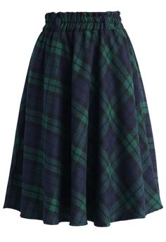 Green Tartan A-line Midi Skirt - Skirt - Bottoms - Retro, Indie and Unique Fashion