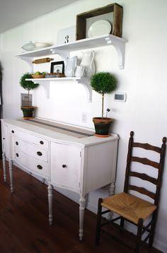 The Ironstone Nest: Open Shelves & A Freshly Painted Buffet - kitchen idea