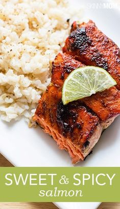 Skinny Sweet and Spicy Salmon Sweet and spicy salmon dish is healthy and delicious! salmon without skin = 8 pts. Use only 1 Tbs oil = 7 pts Clean Recipes, Fish Recipes, Seafood Recipes, Cooking Recipes, Healthy Recipes, Cooking Fish, Whole30 Recipes, Dinner Recipes, Cooking Salmon