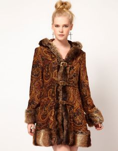 paisley print faux fur jacket - Google Search