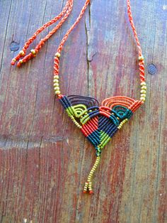 colorful macrame necklace