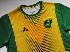 Jamaica training football shirt by Romai National Football Teams, Football Soccer, Football Shirts, Reggae Boyz, Jersey Shirt, Jamaica, Training, Mens Tops, Rome