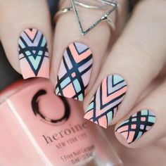Unique and Creative Geometric Nail Designs For You. If you are looking for nail art designs and are still undecided then you are in the right place. We have put together unique ve beautiful geometric nail designs for you. Cute Nail Art, Cute Acrylic Nails, Acrylic Nail Designs, Cute Nails, Acrylic Set, Stylish Nails, Trendy Nails, Hair And Nails, My Nails