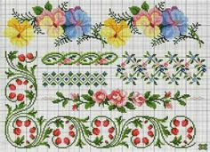 cross stitch charts for pansies and roses