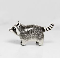 Raccoon Animal Figurine is cute handmade polymer clay totem! This sculpture is exceptionally carefully hand painted with maximum detail and