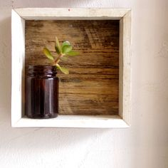 Reclaimed timber frame shadow box. Rustic wooden display case - home decor.