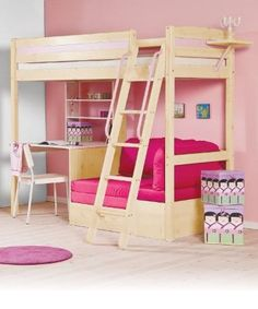 How cute is this for a girl's room? Lofted bed with desk and couch underneath. The couch folds out to a futon for sleepovers - perfect!