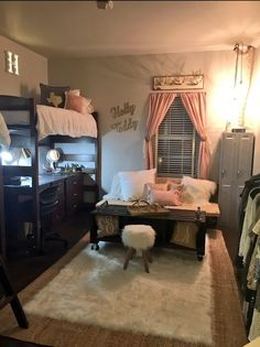 Ole Miss Dorm RC South. College dorm room ideas for girls / Cute college student dorm room decor decorations style / lights cozy for women / dorm room layout cute unique /