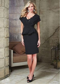 Elegant Satin Scoop Sheath Mother of The Bride Dress with Beaded Lace Appliques