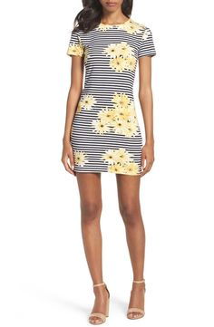 Daisy chain. This striped sunflower emblazoned sheath dress can be dressed up or down.