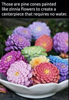 Springtime craft: paint pine cones and arrange to look like flowers