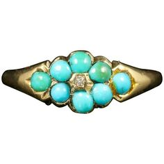 Preowned Antique Georgian Turquoise Diamond Ring 18 Carat Gold (72.880 RUB) ❤ liked on Polyvore featuring jewelry, rings, fashion rings, multiple, antique gold rings, sparkly diamond ring, turquoise diamond ring, diamond flower rings and pre owned diamond rings