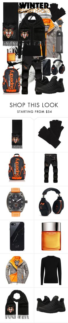 """""""urban winter essentials"""" by panasun ❤ liked on Polyvore featuring Gucci, rag & bone, Superdry, Under Armour, Sefton, Clinique, La Perla, Timberland, men's fashion and menswear"""