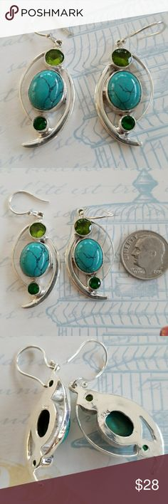 Santa Rosa Turquoise w/ Peridot and Topaz earrings Handmade NWT .925 Sterling Silver pierced earrings set with a large Santa Rosa Turquoise Stone and Peridot,  Topaz  Stamped .925 Handmade Jewelry Earrings